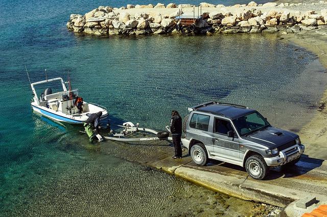 moře, auto, vlek na lod, loď